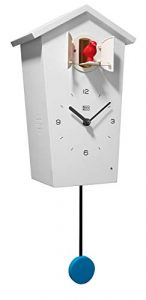 KOOKOO Birdhouse Blanco, Reloj cucu Design Moderno, Sonidos de 12 Aves