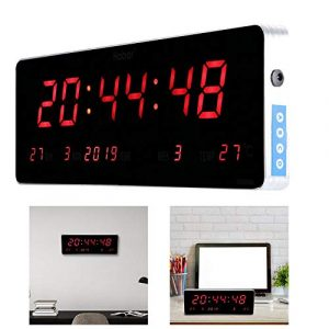 WolfGo Reloj Despertador, 110V / 240V Reloj de Pared - LED Digital Gra