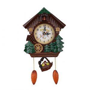 AUNMAS Reloj de Pared de Cuco Artesanía de época Casa de Madera del