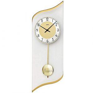 AMS–Reloj de péndulo 7437Salón Reloj de pared de vidrio tran