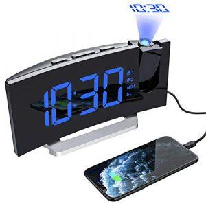 Mpow Radio Despertador Digital Proyector, FM Radio Reloj Despertadores