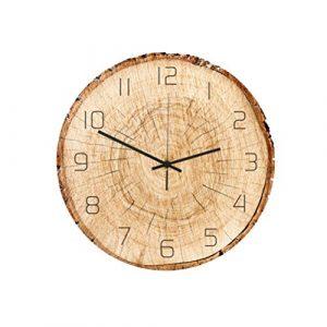 Healifty Reloj de Pared de Madera rústica sin tictac silencioso sin t