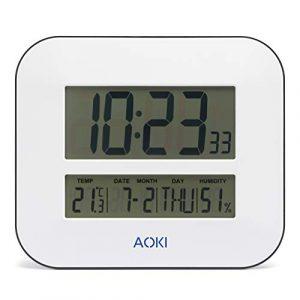 AOKI - Reloj de Pared Digital con Alarma, Temperatura y Humedad, Funci