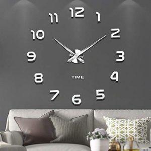 VANGOLD Mute DIY Reloj de Pared sin Marco Espejo Grande 3D Sticker-2 a