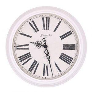 Homevibes Reloj De Pared Blanco Shunshun Clock How&J, Diseño Antiguo,