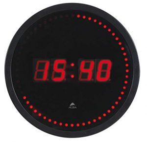 Alba HORLED–Reloj de pared LED negro/rojo–Toma eléctrica