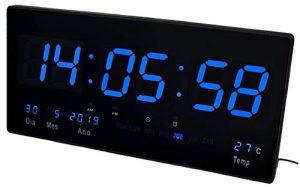 JeVx Reloj Digital de Pared Led Color Azul Calendario Termometro Alarm