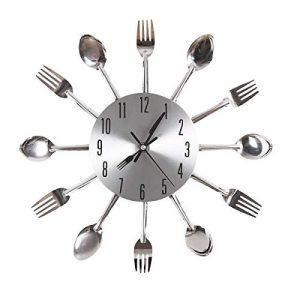Gearmax® Cubertería plateado diseño moderno reloj de pared utensili
