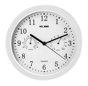 Elbe RP-2005-B Reloj de pared con termómetro e higrómetro, mide temp