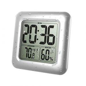 Film Ducha de baño Digital Cocina Reloj de Pared con Ventosa Pantalla