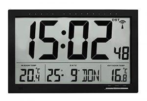 TFA 60.4510.01 Reloj Digital de Pared Negro con termómetro y Sensor R
