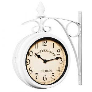 Deuba Reloj de Pared Estación de Tren Blanco Estilo Vintage Doble Esf