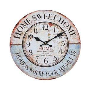 Reloj de pared - Home Sweet Home - reloj de cocina de madera con esfer