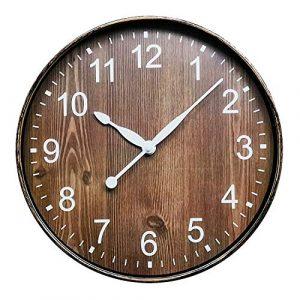 ufengke Reloj de Pared Grano de Madera Marrón Reloj Quartz Vintage An