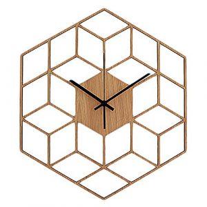 TOOGOO 1 Piezas Reloj de Pared de Madera Hexagonal LíNeas GeoméTrica