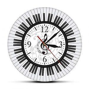 TRSMXYW Relojes De Pared Radio Controlado Teclado De Piano Clave De So