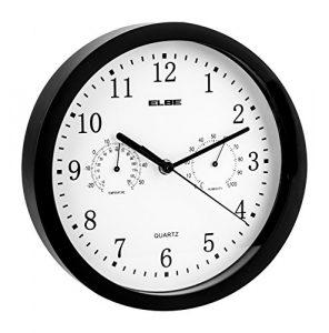 Elbe RP-1005-N Reloj de pared con termómetro e higrómetro, mide temp