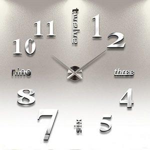 Reloj de Pared 3D con Números Adhesivos DIY Bricolaje Moderno Decorac