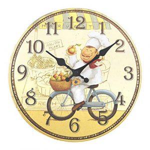 ufengke Reloj de Pared Cocina Madera Vintage Reloj Quartz Rustico un C