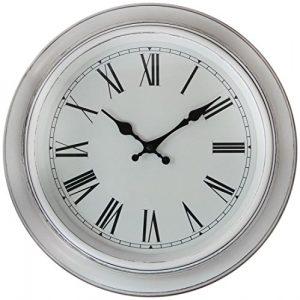 38 cm blanco reloj de pared con acabado antiguo - blanco