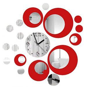 Itian Reloj de Pared de Metal con la Decoración Efecto de Espejo Mode