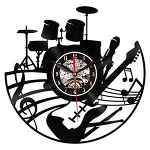 CUHAWUDBA Guitarra Arte de Pared Reloj de Pared Instrumento Musical In