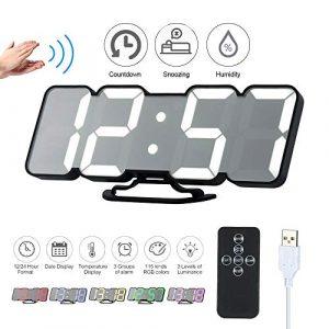 Decdeal Despertador LED RGB, Mando a Distancia 3D, Reloj de Mesa Digit