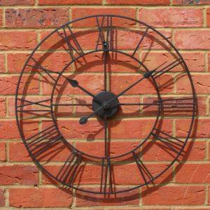 Stunning Metal Roman Numeral Clock - Black 'Iron' (60cm in diameter) b