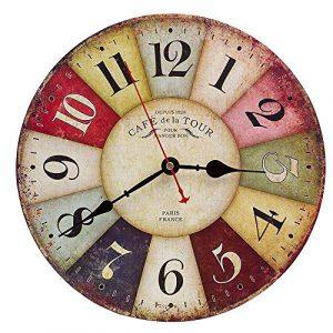Reloj de Pared de Madera de la Vendimia,30cm Reloj Numérico Grande de