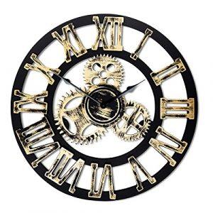 Top Race Reloj de pared redondo de 16 pulgadas, diseño de engranajes