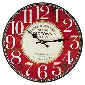 Perla pd Design Reloj de pared, de cocina, diseño vintage, diámetro